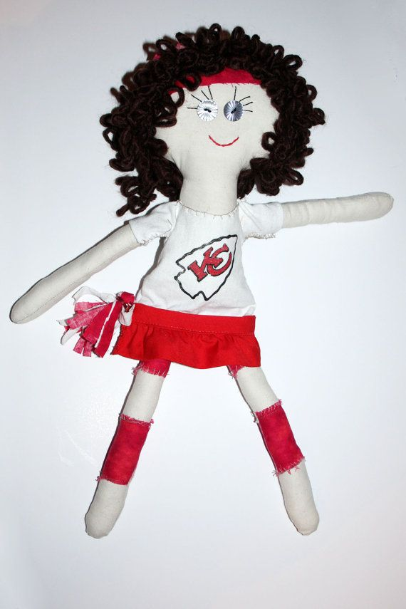 KC Kaci  17 KC Chiefs Cheerleader Cloth Doll by GinsLilCharacters, $35.00