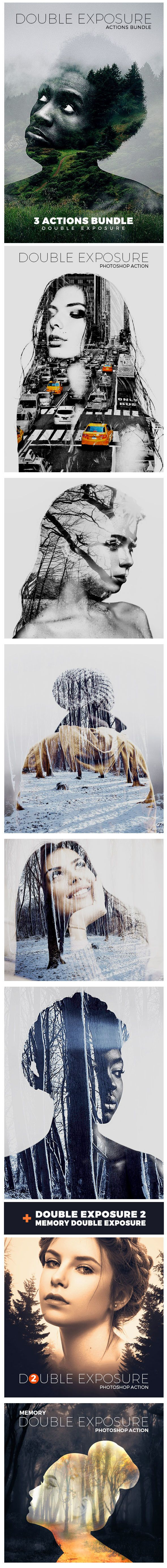 Double Exposure Photo Effect Photoshop Actions Bundle. Download here…
