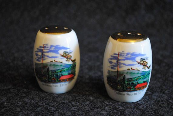 Vintage glass ceramic Torfhaus Harz Germany Salt and Pepper