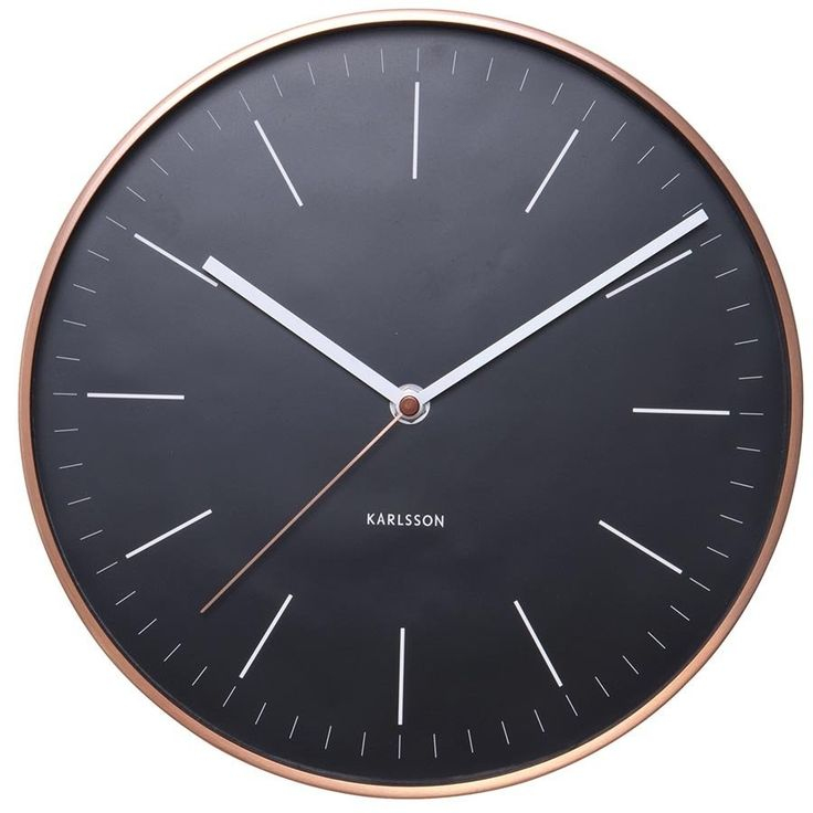 Karlsson Wall Clock Watch - Black with Copper Case