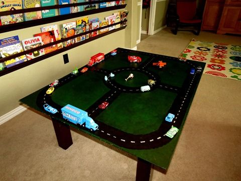DIY Hot Wheels, Disney CARS race car track. Easy. $10. 1 hour project. PERFECT Christmas gift. Cut to fit under your couch, or slide it behind a bookshelf when not in use. Can be put on a table or played with on the floor.