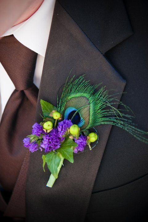 Peacock wedding flower boutonniere, groom boutonniere, groom flowers, add pic source on comment and we will update it. www.myfloweraffair.com can create this beautiful wedding flower look.