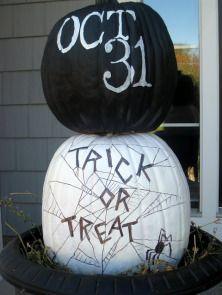 Trick or treat painted pumpkins