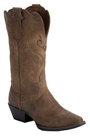 "Justin Ladies 12"" Tan Puma Cowhide Snip Toe Rubber Sole Western Boot"