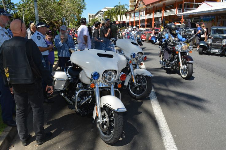Harley police bikes attract a lot of attention on the Esplanade for the Thunder Run and Show and Shine at the 2014 Australian HOG Rally in Cairns. Read all about it at http://motorbikewriter.com/hog-rally-success-story/