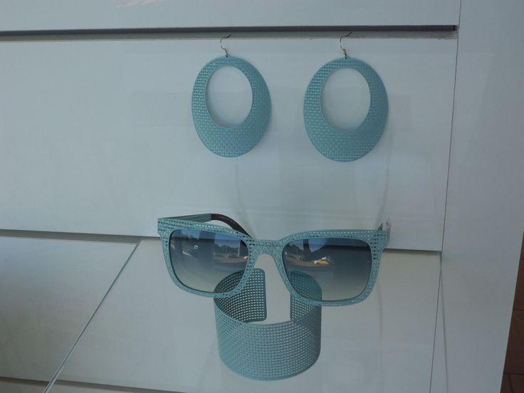 Orecchini bracciale ed occhiale...tutto fatto nello stesso materiale..collezione Iuta #sunglasses #handmade #occhiali #madeinitaly