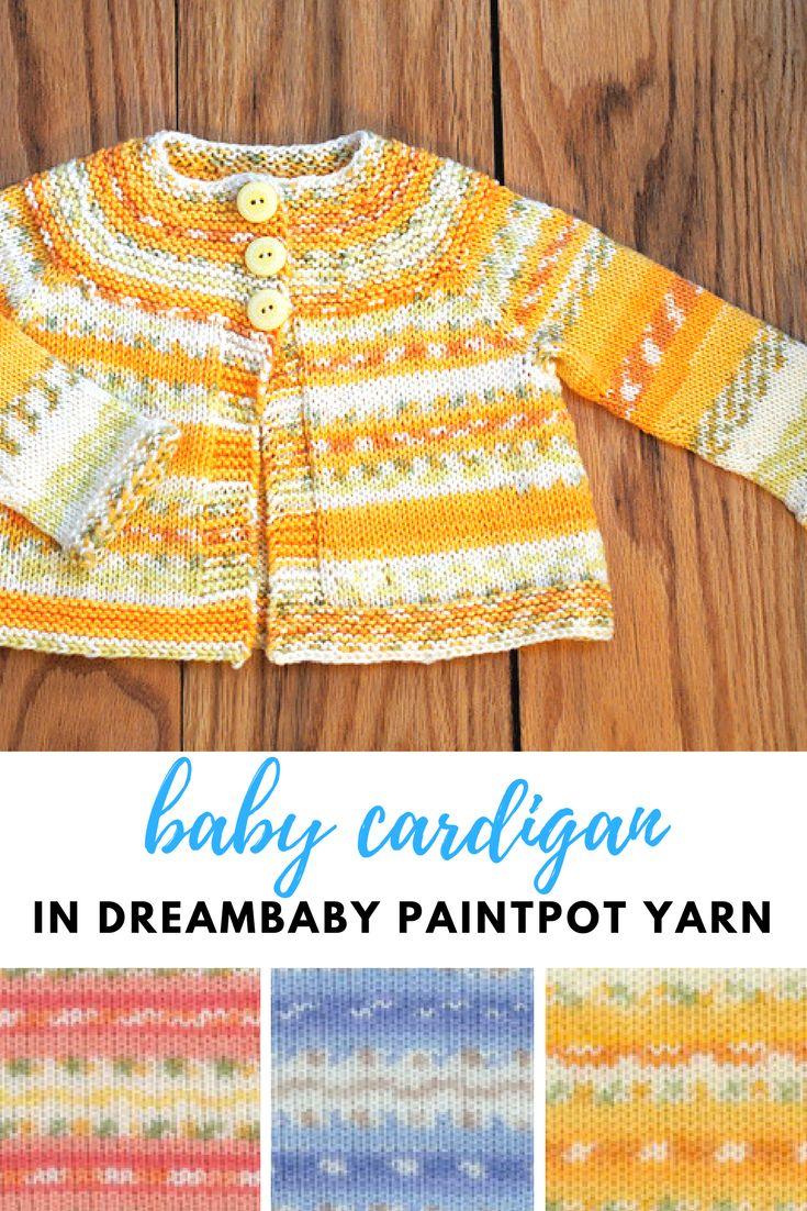 NobleKnits: Garter Yoke Baby Sweater Knitting Pattern in colorful Dreambaby Paintpot Yarn