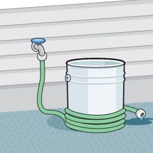 Organize your hose and outdoor supplies. Wrap garden hose around a 5 gallon bucket with lid. Store tools and toys inside. Perfect for water pistols, sidewalk chalk, sunscreen and bug spray for outdoor play. Bandages, tweezers, ointment and other first-aid items for blisters, cuts, burns and slivers. Include a mesh bag. Put things that need to be rinsed off in the mesh bag (picked garden vegetables, sandy beach toys, muddy garden tools) and rinse off with the hose.