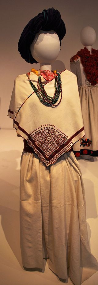 Garb from the Nahua community of Cuetzalan, Puebla, on display at the Museo de Arte Popular in Mexico City