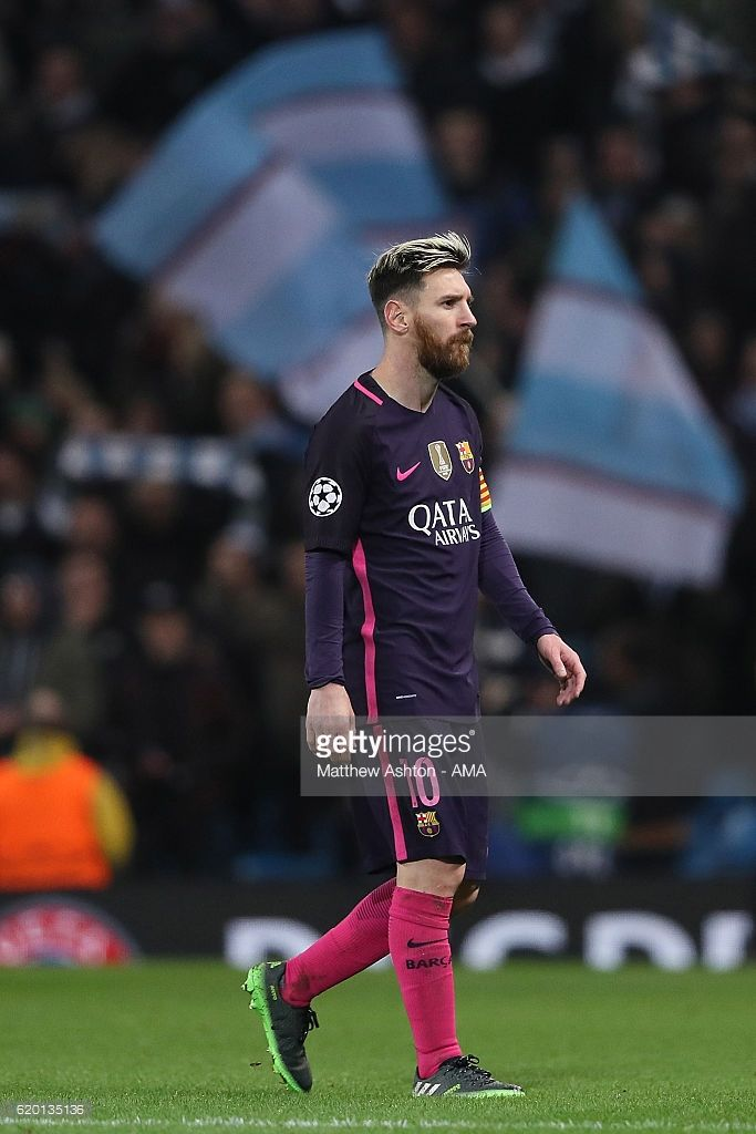 Lionel Messi of Barcelona reacts at the end of the UEFA Champions League match between Manchester City FC and FC Barcelona at Etihad Stadium on November 1, 2016 in Manchester, England.