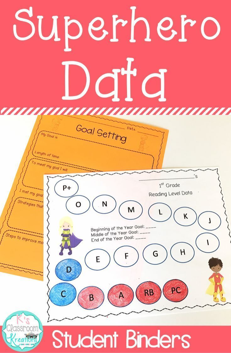Are you or your students required to track reading and math data? Enjoy this fun superhero themed twist on student data binders while collecting and analyzing student progress. Students can also set and monitor goals. These data binders work great for one