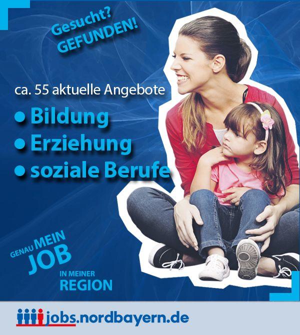 Sie suchen einen neuen Job? Bei uns sind Sie richtig! In den Bereichen Bildung, Erziehung und soziale Berufe finden Sie derzeit etwa 50 Jobangebote in unserem Stellenportal für Nordbayern. Bewerben Sie sich jetzt! Jobs, Jobbörse, Stellenanzeige, Stellenanzeigen, Stellenangebote, Jobs, Jobangebote, Stellenmarkt für den Großraum Mittelfranken, Nürnberg, Fürth, Erlangen, Schwabach