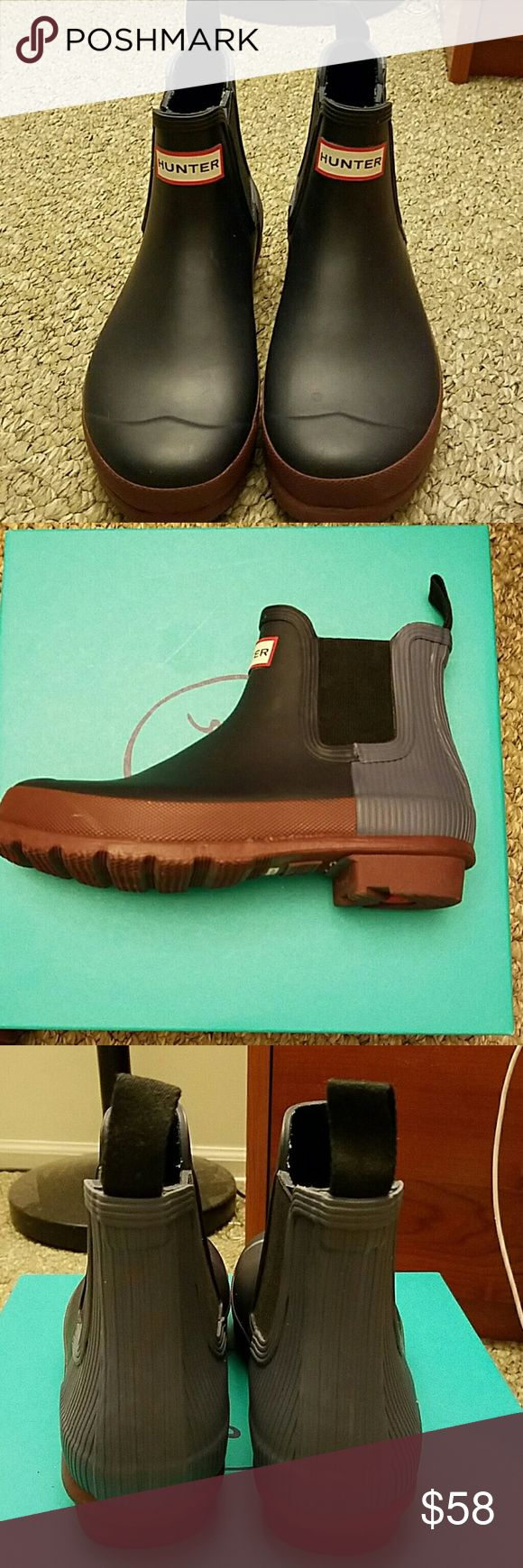 Short Hunter Original Wellie Booties Sz 7 (EU 38) Ankle Hunter booties, super cute.  Front is navy with Hunter tag, back is light cornflower blue and sole is brown.   Size 7, EU 38.  Fits a true 7.  Do not have original box.  Will ship in other shoe box.  *No trades. * Hunter Boots Shoes Winter & Rain Boots