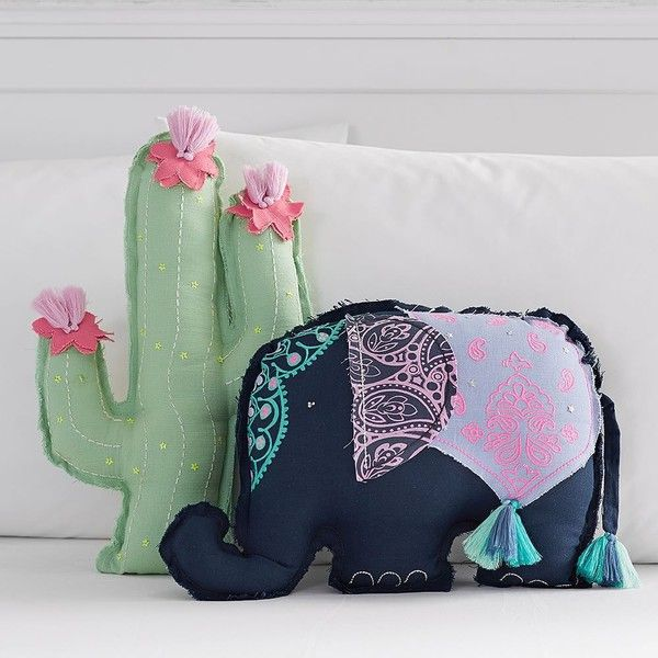 PB Teen Cactus Shaped Pillow (1,605 DOP) ❤ liked on Polyvore featuring home, home decor, throw pillows, eclectic home decor, elephant throw pillow, cactus home decor, elephant home decor and pbteen