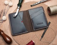 Black Horween Chromexcel Leather Bifold Wallet by SHKIRA on Etsy