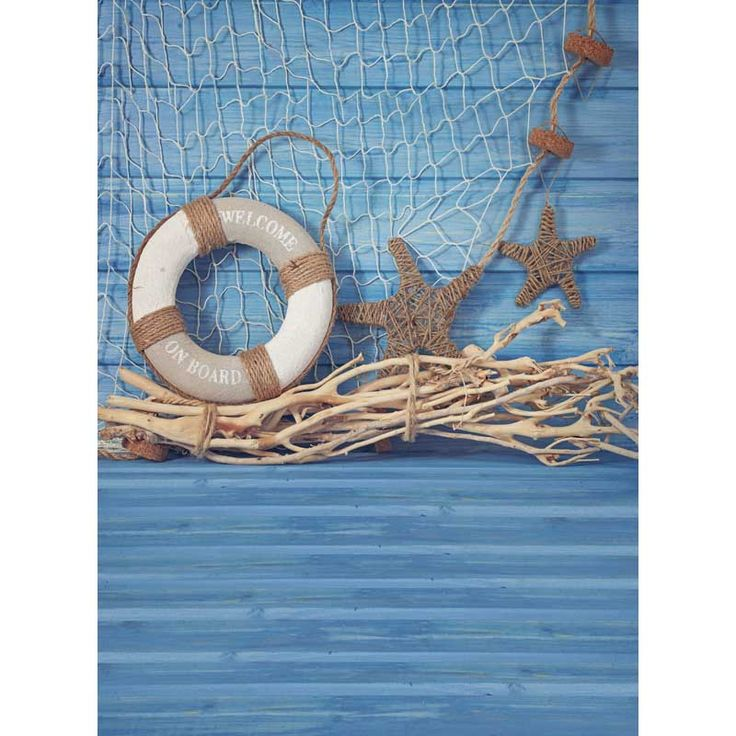 2017 vinyl backdrops 3x5ft 5x7ft fundo fotografico newborn Children photography backgrounds Summer blue Navy starfish buoy P0955