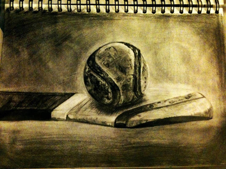 Drawing of a Hurl and Sliothar. Done on a flight to America Summer '12