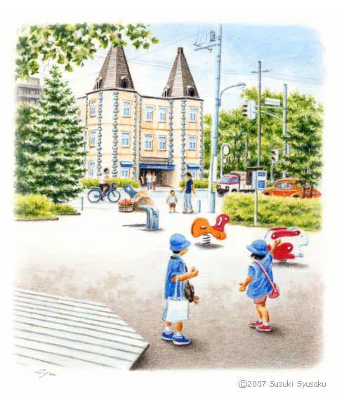 札幌・行啓通/水彩色鉛筆画イラスト