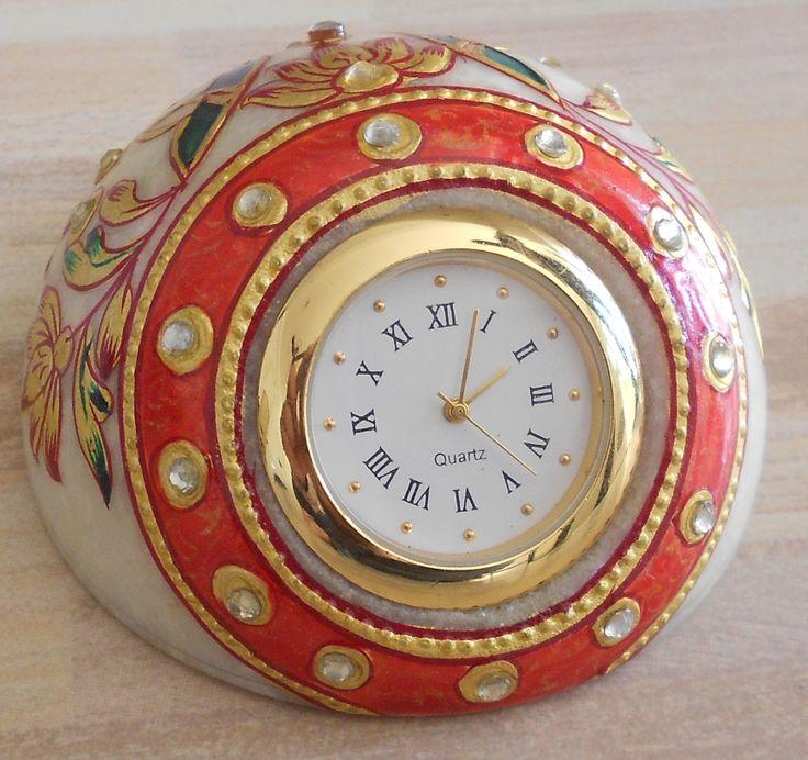 <<====== #Jaipuri #Marble #Meenakari Painted Clock =====> Marble #clock red,blue,green color with jaipur design decorated with small white stone. http://kalracreations.com/home-furnishing/jaipuri-marble-meenakari-painted-clock.html