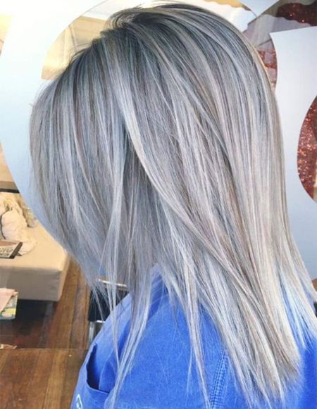 Silver Grey Hair Color Ideas for Straight Hairstyles 2018