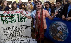American students protest outside UN climate talks in Marrakesh last November following Donald Trump's victory in the US presidential election