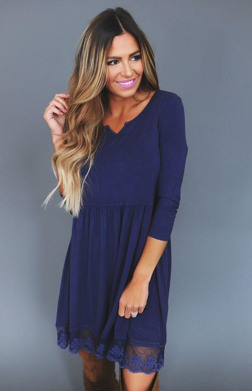 Navy Lace Trim Dress - Dottie Couture Boutique