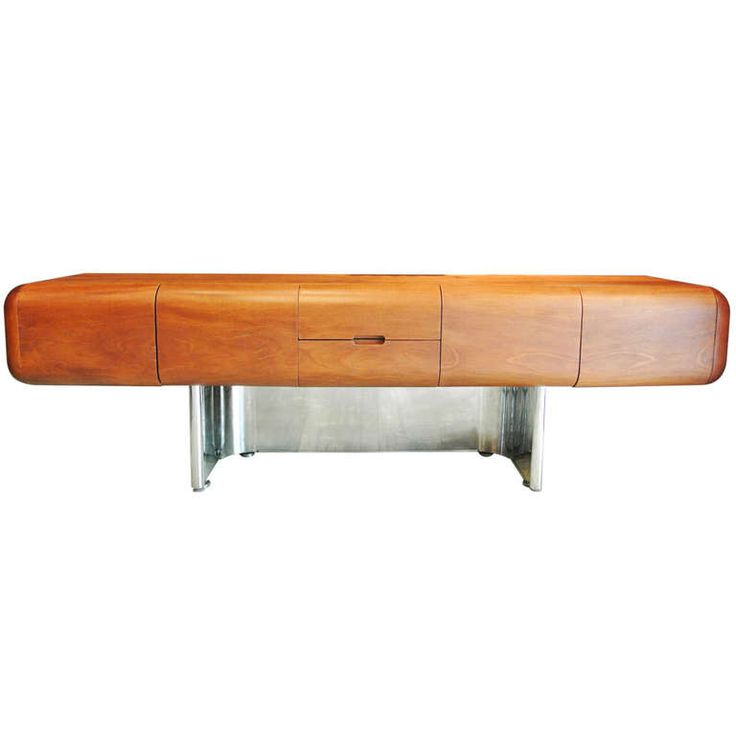mf harty for stow davis walnut and stainless steel credenza