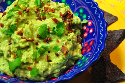 ... | Guacamole with Bacon, Grilled Green Onions and Roasted Tomatillos