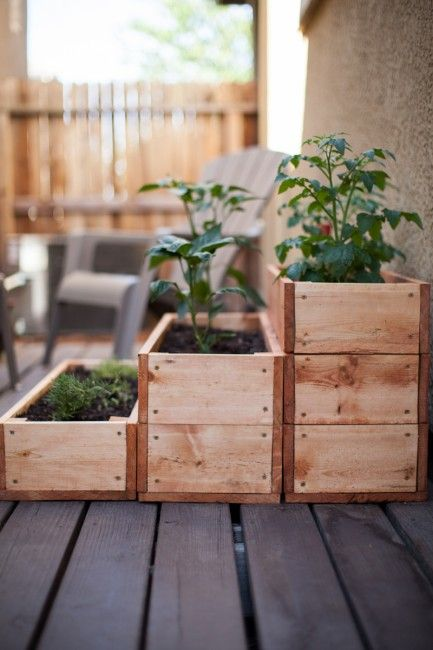 """Stacked Wooden Box Garden"" Great idea for the home or kitchen. This both beautifies the environment an suits ur domestic needs. Go green!"