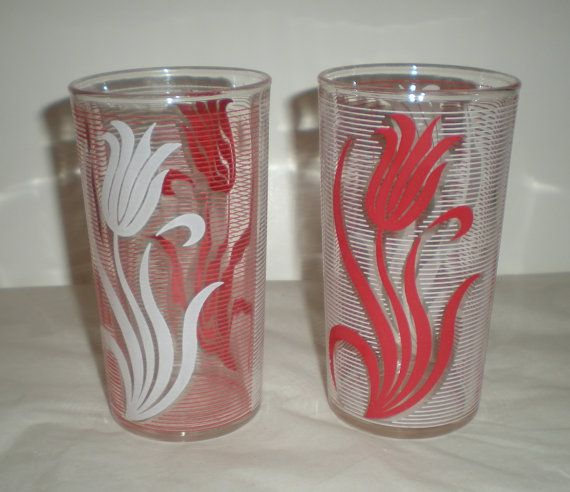 Vintage Red and White Drinking Glasses  1940's by MyHeirloomCharms