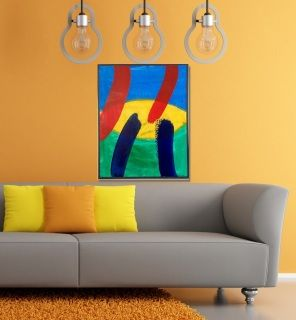 """Artist: Dermot Daly  Original Acrylic Abstract on Wood Frame Box Canvas. Ready to hang. Vibrant Design.   Titled: """"Contrasting""""  An exercise in colour that will enhance and bring interest to an area.  Size: 20"""" X 16"""" Inches (50 X 40 cm) Thickness canvas (frame) screen: 0.8"""" Inch (2 cm)  Sides of canvas are painted in dark gray so no need for framing. Ready to hang.  Painting would suit a modern, stylish setting.  The photograph does not do the Painting Justice. With final Varnishing: The…"""
