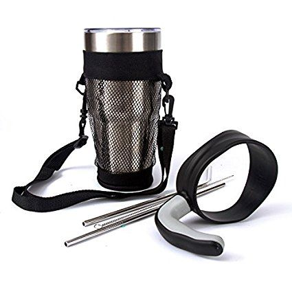 Yeti Accessories 30 oz Tumblers Handle for Yeti Rambler Cup Rtic Ozark Trail with Slide Lid,Mesh Carrier Pouch,Stainless Steel Straw (Not Include Tumbler)