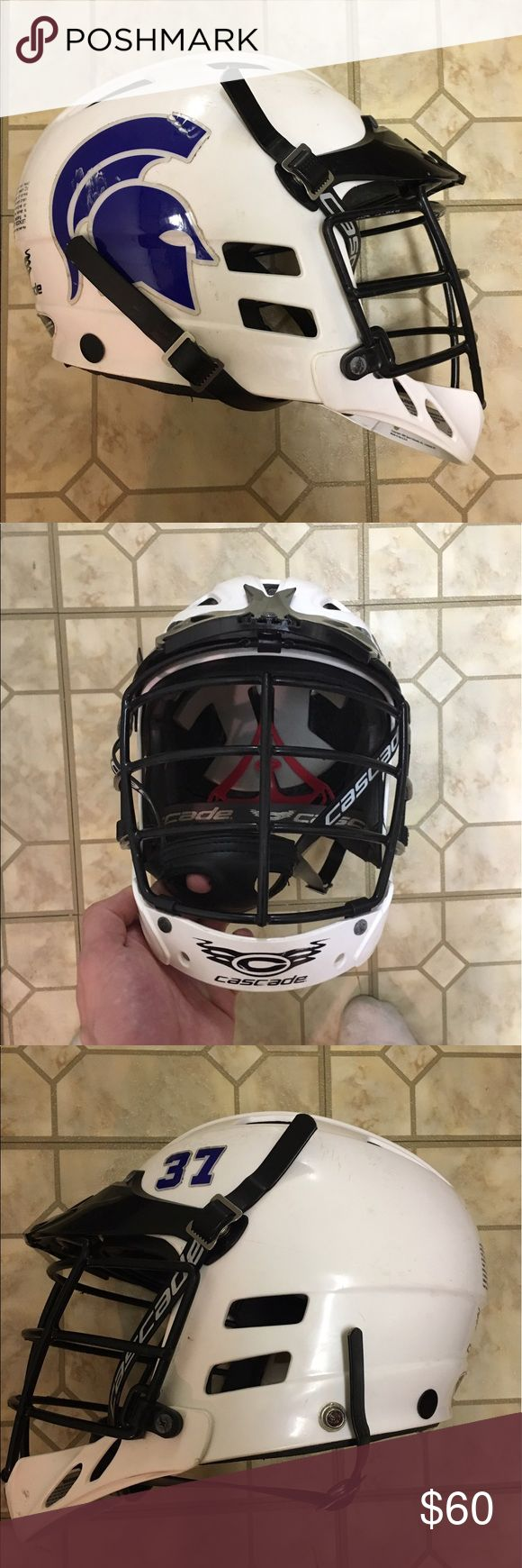 Cascade lacrosse helmet Lacrosse helmet in pretty good condition! Only used for a couple years but I just want to get rid of it. Has a spartan logo on it and also #37. cascade Other