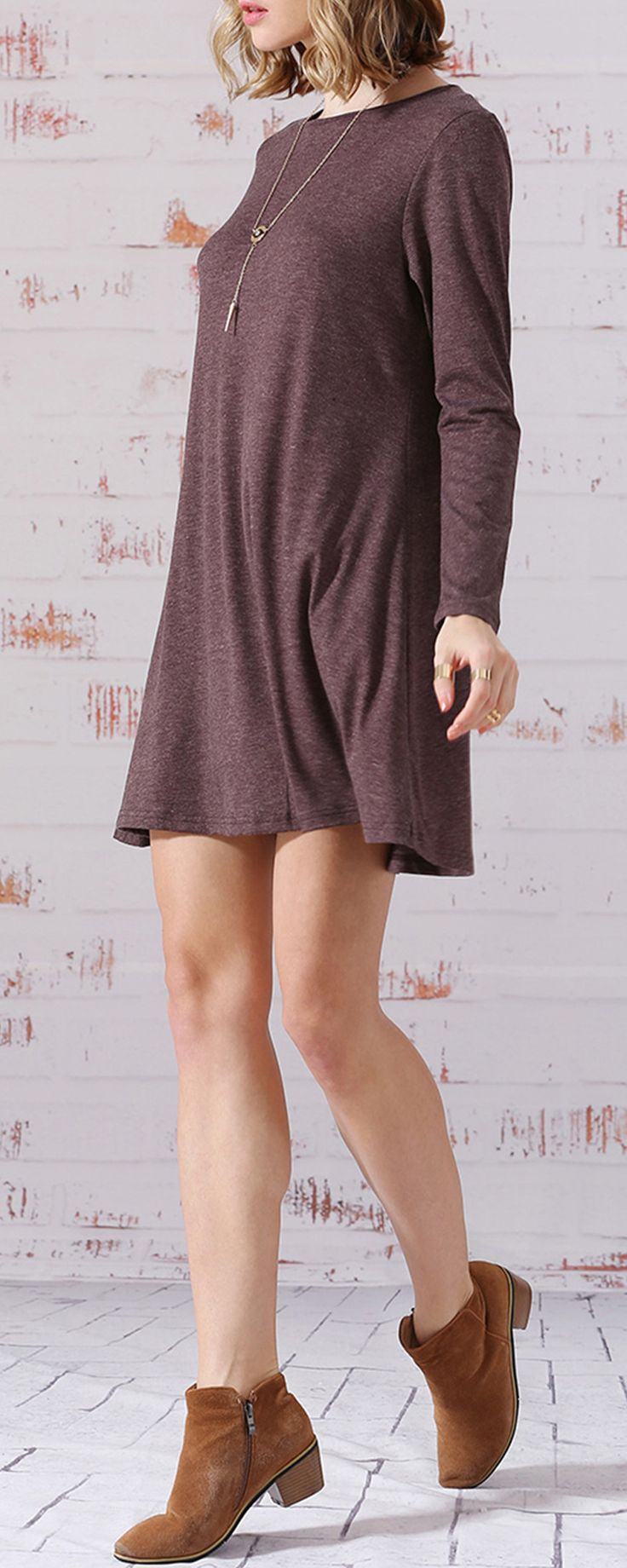 Series of basic thirt  jersey plain dress now :  Coffee Long Sleeve Jumpers Babydoll casual  Dress this time .Just pick variaty colors of these items at shein with a big discount .