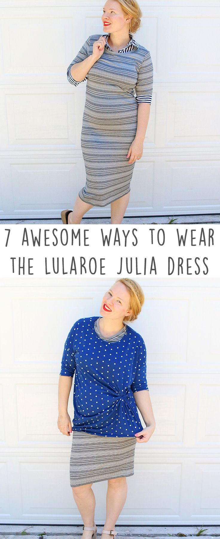 LuLaRoe Julia Dress Styled 7 Ways! This striped LuLaRoe Julia dress has many ways to wear it, let me show you just a few ways from work to casual wear the Julia in a classy way. It's easy to play with patterns when you start with a black & gray dress.