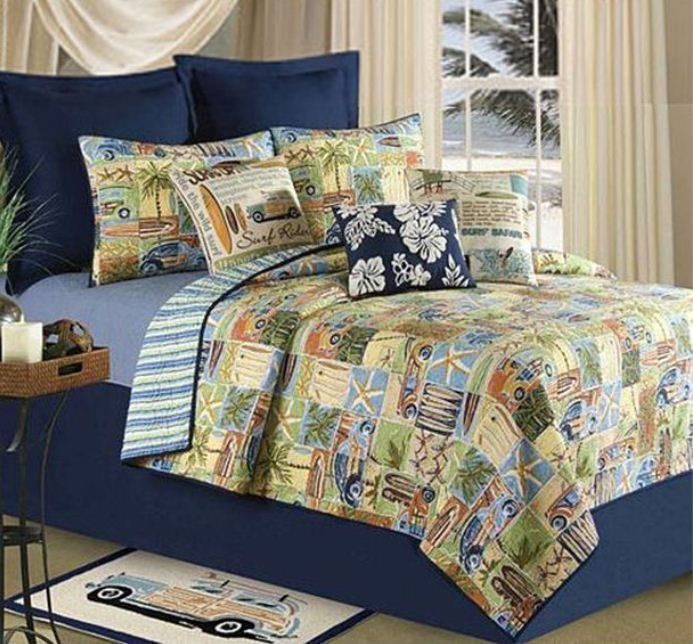 SURF RIDER Full / Queen QUILT SET -BOY SURFER SURFBOARD