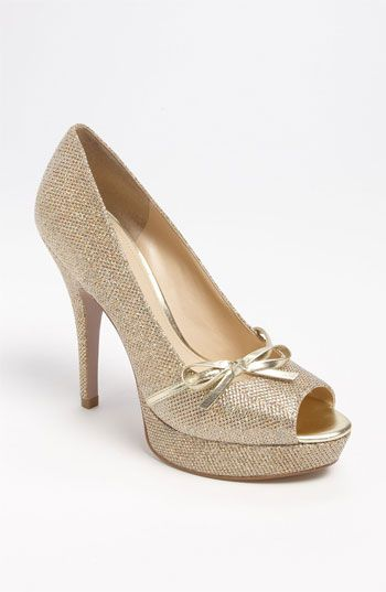 Gold glitter bow peep toe pumps