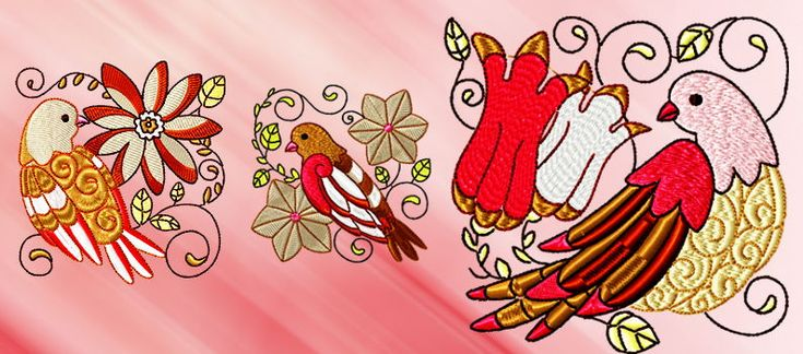 Redbirds and flowers