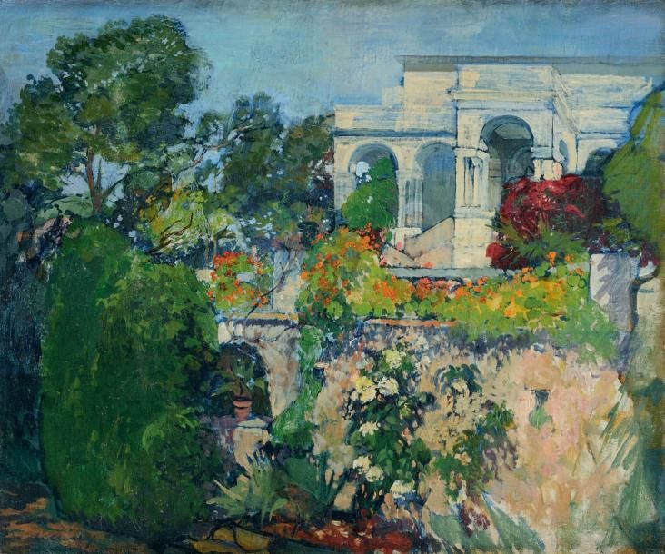 Leon Cauvy (French, 1874-1933) - The Gardens of the Villa Abd-El-Tif, Algiers