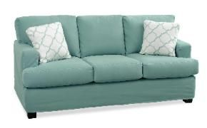 Cottage Home Maine, love slipcovered sofa with exposed legs!