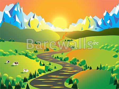 """""""Landscape"""" - Landscape Illustration posters and prints available at Barewalls.com"""