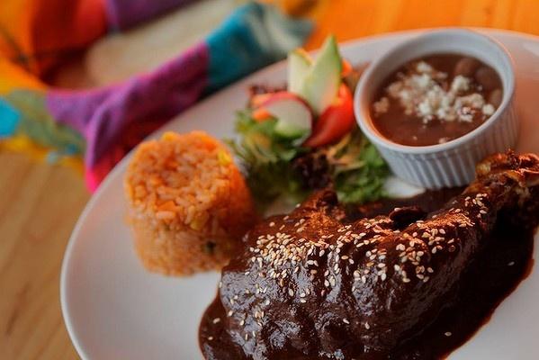 Chicken mole dish at Los Amates Mexican restaurant in Fitzroy.