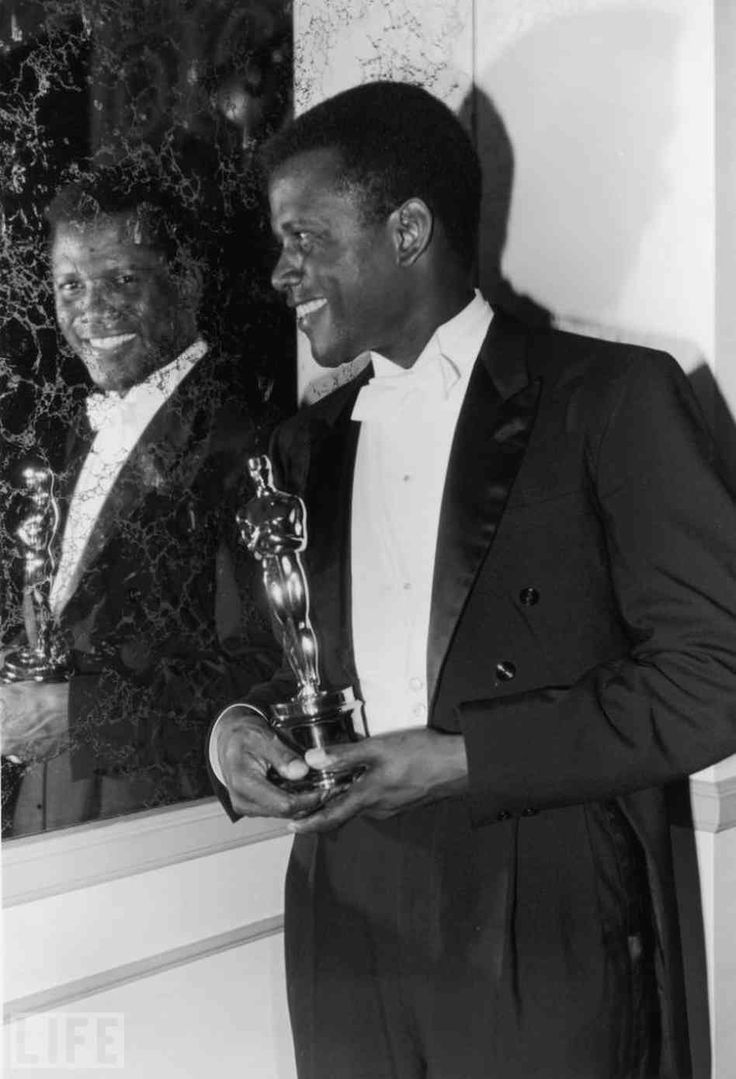 Sydney Poitier 1964 Best Actor Adademy Award Lilies of the Field - Nominees: Albert Finney for Tom Jones; Richard Harris for This Sporting Life; Rex Harrison for Cleopatra; Paul Newman for Hud. Poitier was the first African-American to win the award.