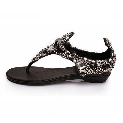Beautiful Mysterious black Jewel Flat Sandals