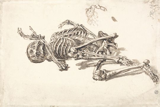 Verso Skeleton (Early 19th century - Graphite, ink, watercolor) - James Ward