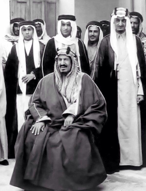 King Abdulaziz Al-Saud of Saudi Arabia with some of his sons.
