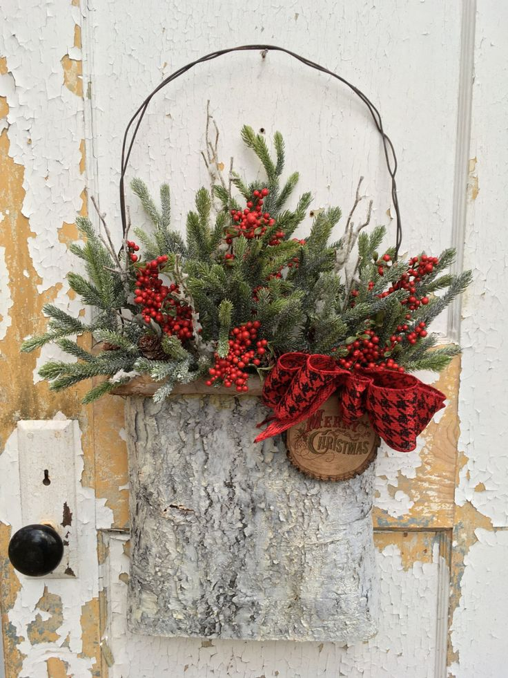 Rustic Christmas Wreath for Front Door, Christmas Rustic Basket, Holiday Wreath by FlowerPowerOhio on Etsy