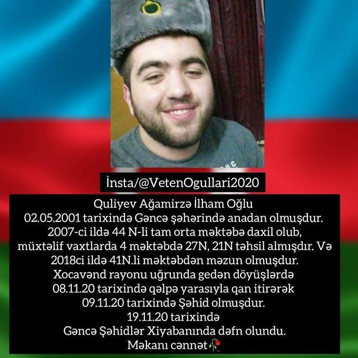 Quliyev Agamirzə Gəncə Məkanin Cənnət Olsun əziz Səhidim In 2021 Azerbaijan