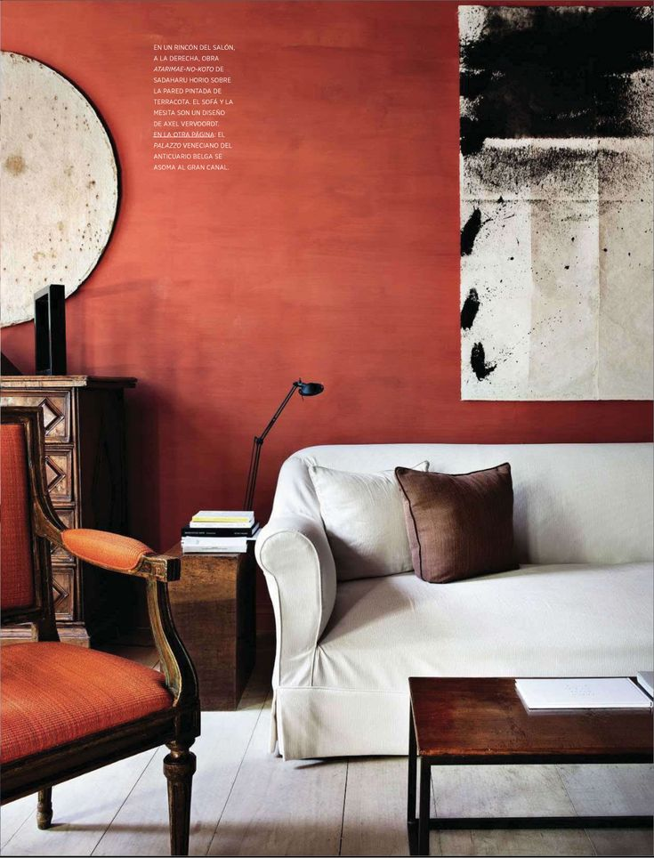 Rich wall color & accents with Art & White....so yummy! from Axel Vervoodt