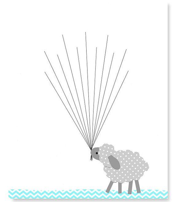 Lamb Guest Book Fingerprint Baby Shower Alternative Guest